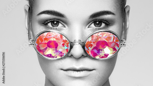 Portrait of Beautiful young Woman with Colored Glasses Fototapet