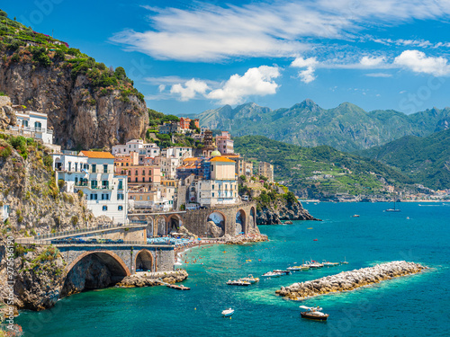 Photo sur Aluminium Vieux rose Landscape with Atrani town at famous amalfi coast, Italy
