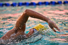 Close Up Of Swimmer In Swimming Pool