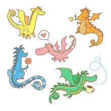 Cartoon Dragons Set. Cute Animals. Vector Contour Colorful Image.