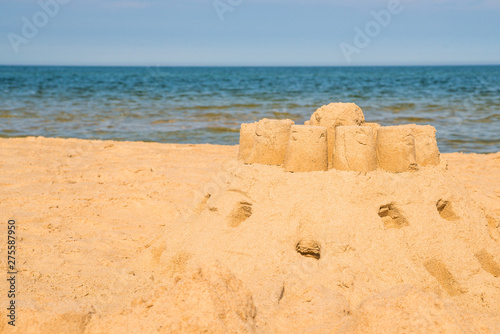 Poster Ouest sauvage Sand castle on a beach of the Baltic Sea in Poland