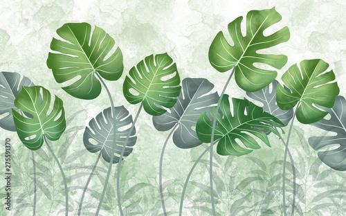 tropikalne-zielone-liscie-na-jasnozielonym-tle-marmuru