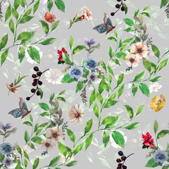 Fototapeta Liście Watercolor painting of leaf and flowers, seamless pattern on gray background