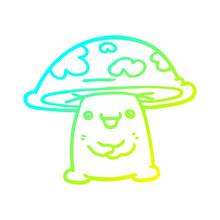Cold Gradient Line Drawing Cartoon Mushroom Character
