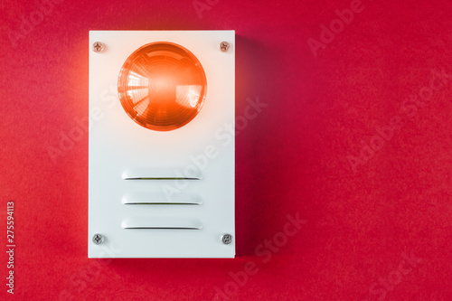 Cadres-photo bureau Macarons Fire safety system on a red background of a copy space