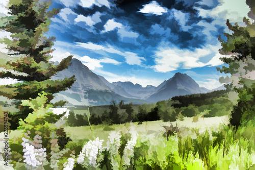 La pose en embrasure Kaki Dessin d'un paysage de montagnes