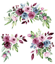 Watercolor Floral Set With Bou...