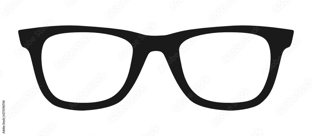 Fototapety, obrazy: Vector illustration of hipster nerd style black glasses silhouette isolated on white background