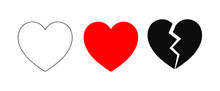 Vector Flat Style Illustration Set Collection Of 3 Hearts Isolated On White Background - Contour, Red Silhouette And Broken Heart