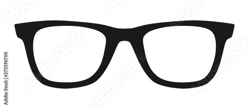 Vector illustration of hipster nerd style black glasses silhouette isolated on white background