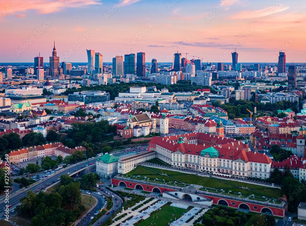 Fototapety, obrazy: Panorama Warszawy po zachodzie słońca