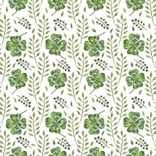 Beautiful Seamless Background With Flowers And Clover Leaves Using Ladybugs And Field Herbs. Good Luck Symbols. Can Be Used As A Background Template For Wallpaper, Printing On Fabrics, Etc.