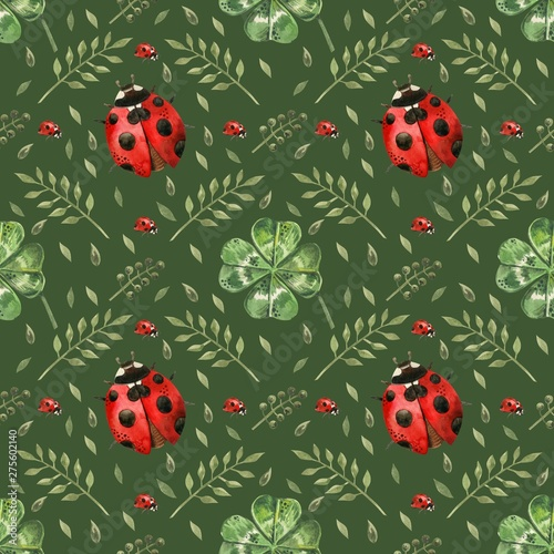 Montage in der Fensternische Marienkäfer Beautiful seamless background with flowers and clover leaves using ladybugs and field herbs. Good luck symbols. Can be used as a background template for Wallpaper, printing on fabrics, etc.