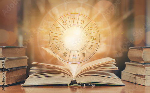 Photo Zodiac sign horoscope astrology and constellation study for foretell and fortune