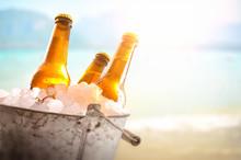Three Beer Bottles In Bucket Full Of Ice Cubes Beach