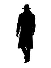 Detective In Trench Coat Walks...