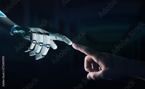 Fotografia Robot hand making contact with human hand on dark background 3D rendering
