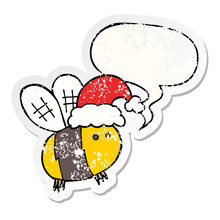 Cute Cartoon Bee Wearing Christmas Hat And Speech Bubble Distressed Sticker