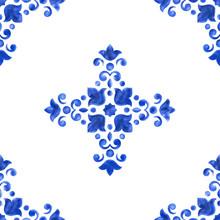 Watercolor Delft Blue Seamless...
