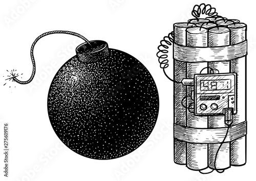 Bomb illustration, drawing, engraving, ink, line art, vector Tablou Canvas
