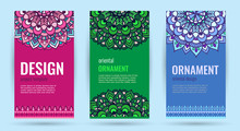 Business Cards With Mandala. Elegant Cover. Decorative Ornate Circle Mandala On Bright Backgrounds. For Banners, Greeting Card, Cover Book, Presentation. Vector Illustration.