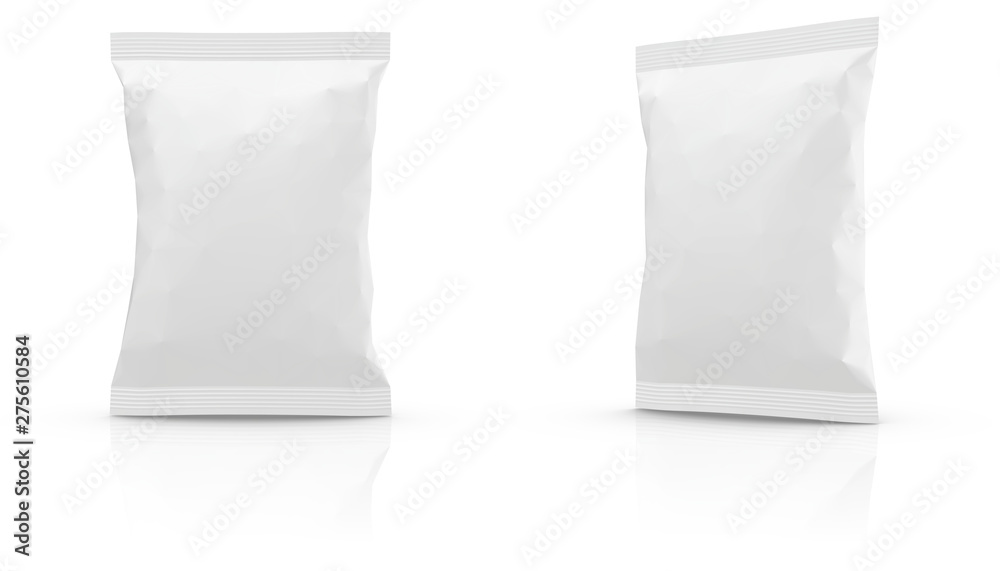Fototapety, obrazy: Realistic Blank Mock-up Bag isolated on white background. 100x140mm.