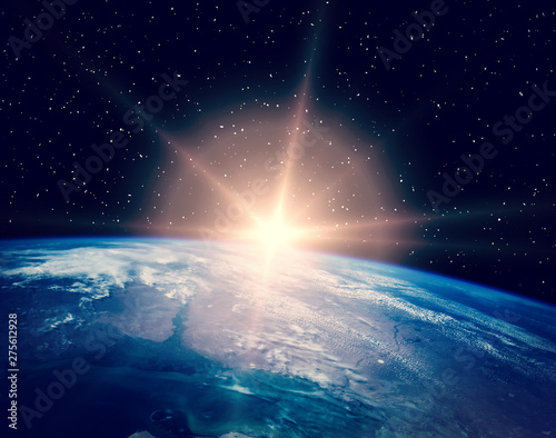 Obraz Sunrise over the earth. The elements of this image furnished by NASA. - fototapety do salonu