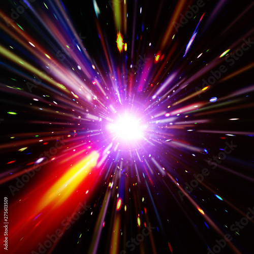 Fototapety, obrazy: Vivid colorful background with starburst. Abstract radial lines fading into background. The elements of this image furnished by NASA.