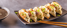 Gyoza Or Dumplings Snack With Soy Sauce