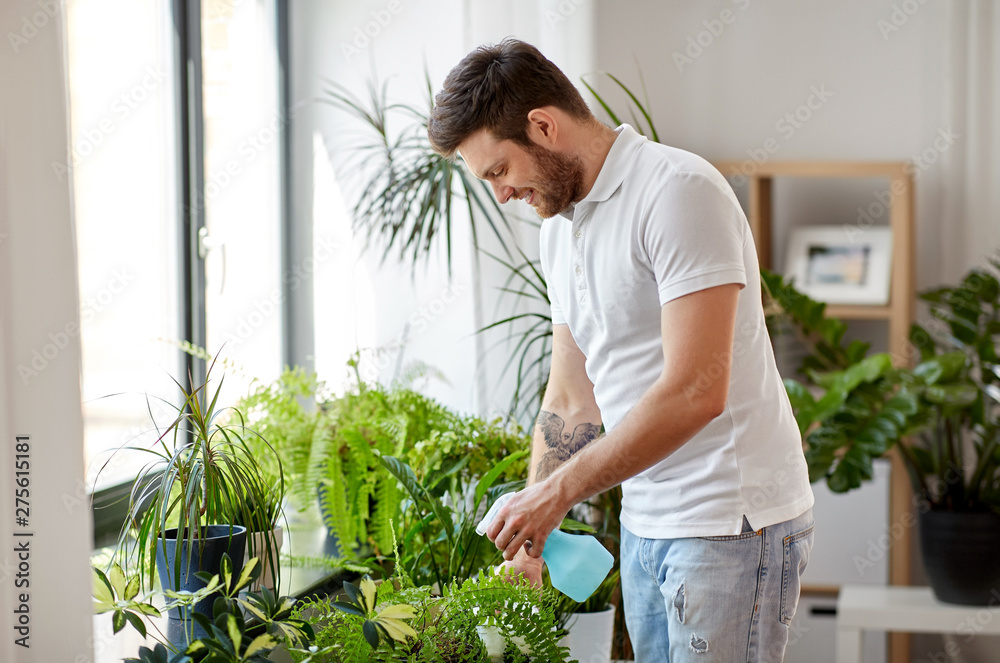 Fototapety, obrazy: people, nature and plants care concept - man spraying houseplants by water sprayer at home