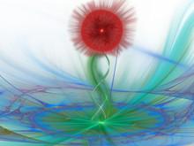 Abstract 3d Illustration Of A Flower On A Stalk. Modern Art.