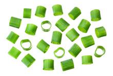 Chopped Fresh Green Onions. Green Cut Onion Isolated.
