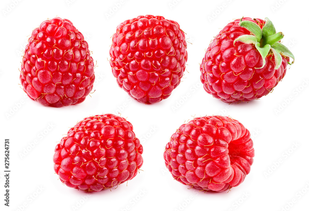 Fototapety, obrazy: Raspberry isolate. Raspberry with leaf. Red raspberries isolated on white background.