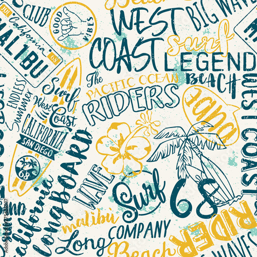 West coast California kid surfing company abstract vector