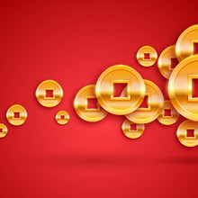 Golden Chinese Coins Background. New Year Lucky Gift.
