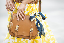 Women Accessories Closeup Picture. Purse, Sunglasses And The .kerchief. Brown Handbag With Fashion Details.