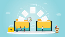 File Transfer Concept With Folder And Files Transfering Move With Security And Padlock And Team People With Modern Flat Style - Vector
