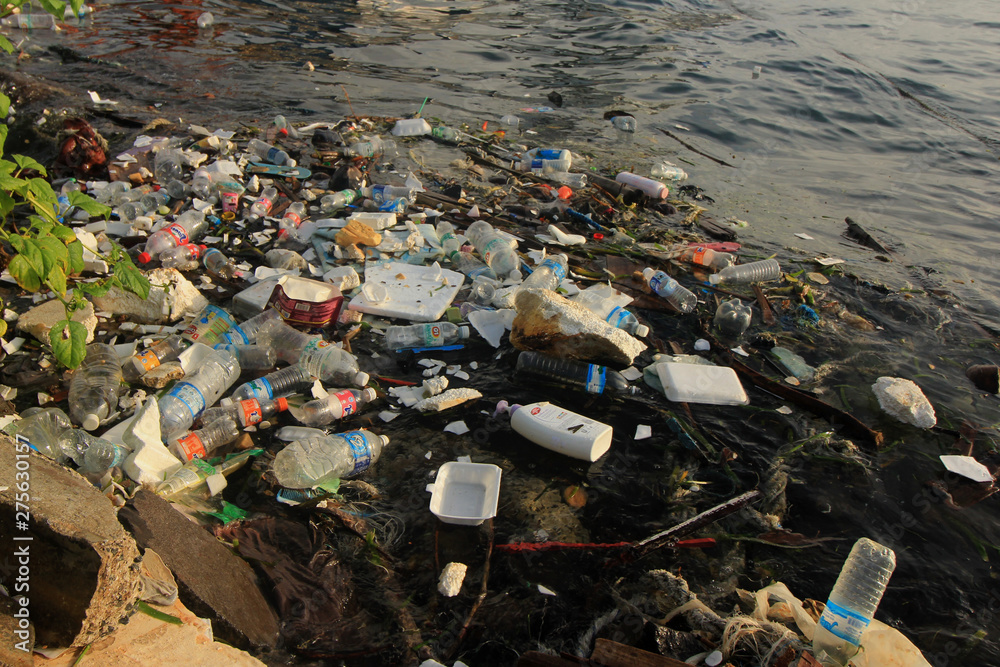 Fototapety, obrazy: Plastic pollution on beach and in sea