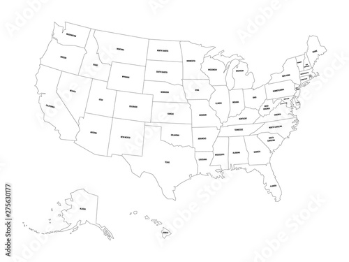 Political map of United States od America, USA. Simple flat ...