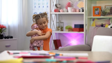 Girl Holding Doll, Hugging Favorite Toy, Girlish Leisure, Childhood Happiness
