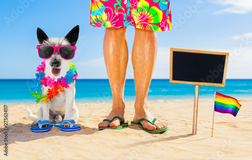 Foto op Aluminium Crazy dog gay pride dog and owner on summer holidays