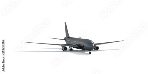 Blank black airplane mockup stand, front view depth of field, 3d