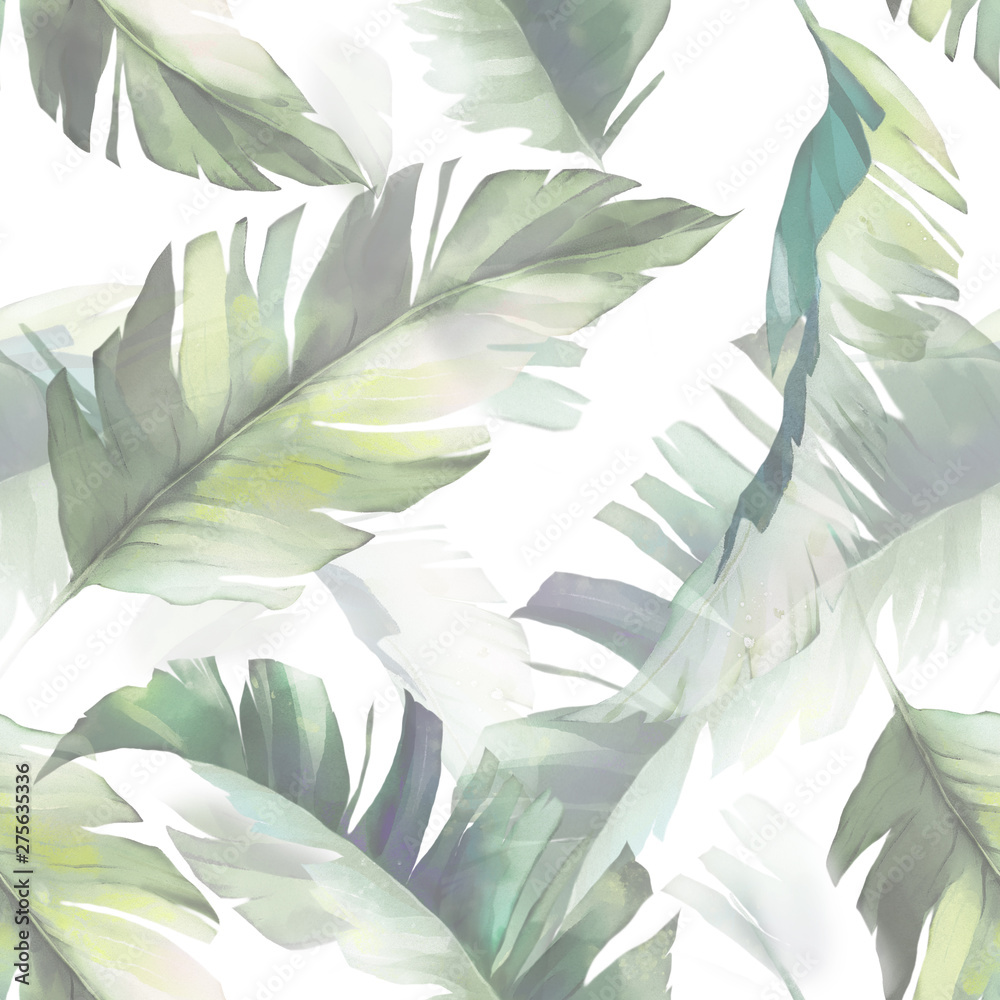 watercolor seamless pattern with tropic leaves. Hand drawn background. Botanic pattern for wallpaper or fabric. Exotic Tile.