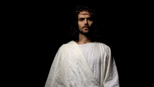 God Son In Crown Of Thorns And Robe Crying And Praying, Asking Father For Mercy