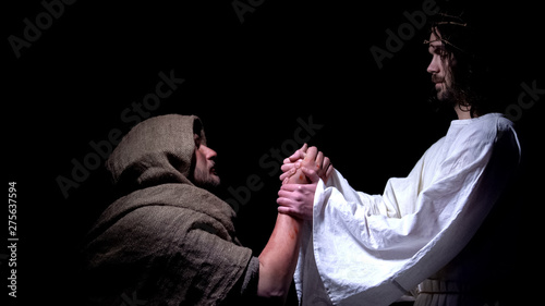 Photo Jesus blessing sick poor man, healing from disease, salvation after prayer