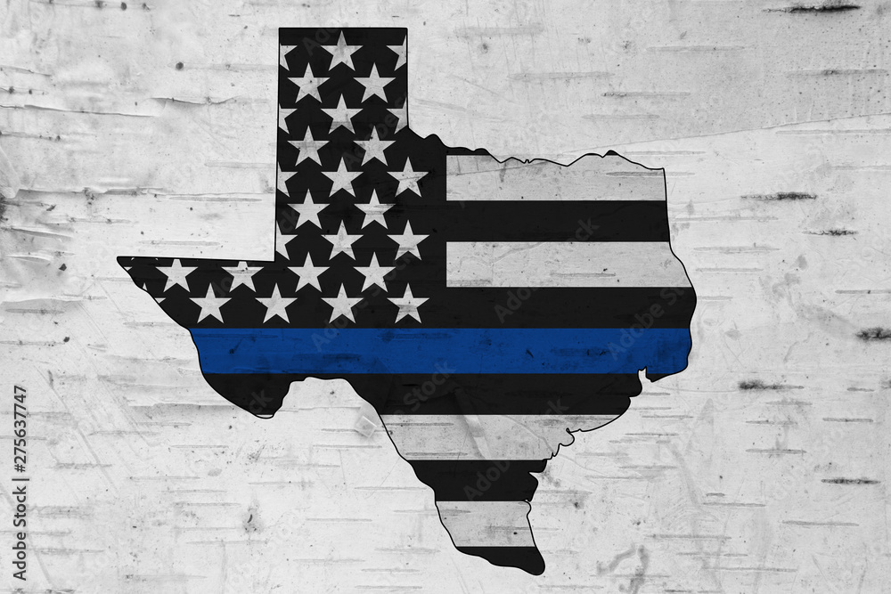 Fototapety, obrazy: American thin blue line flag on map of Texas