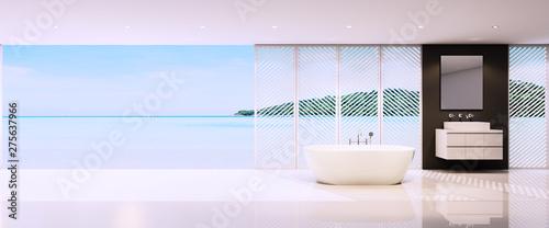 3d rendering bathroom interior with sea view background,minimal bathroom interior with seascape view