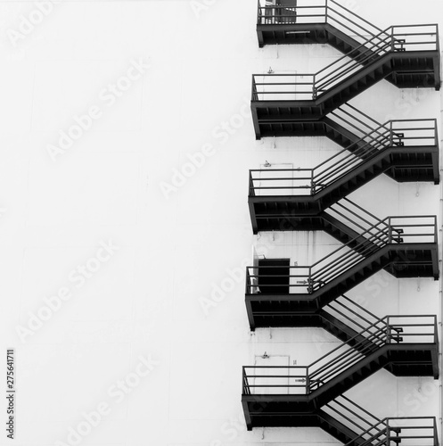 Canvas-taulu Metal fire escape on facade of old building in bangkok City