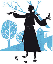 Saint Francis Of Assisi In A Wood With Bird And Animals