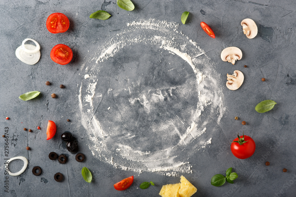 Fototapety, obrazy: The ingredients for homemade pizza on wooden background.